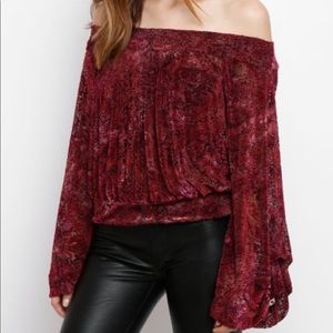 Free People Ginger Berry Velvet Off Shoulder Top